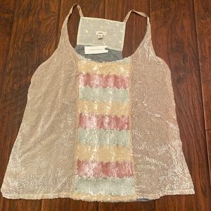 Anthropologie Dressy Sequined Tank Top